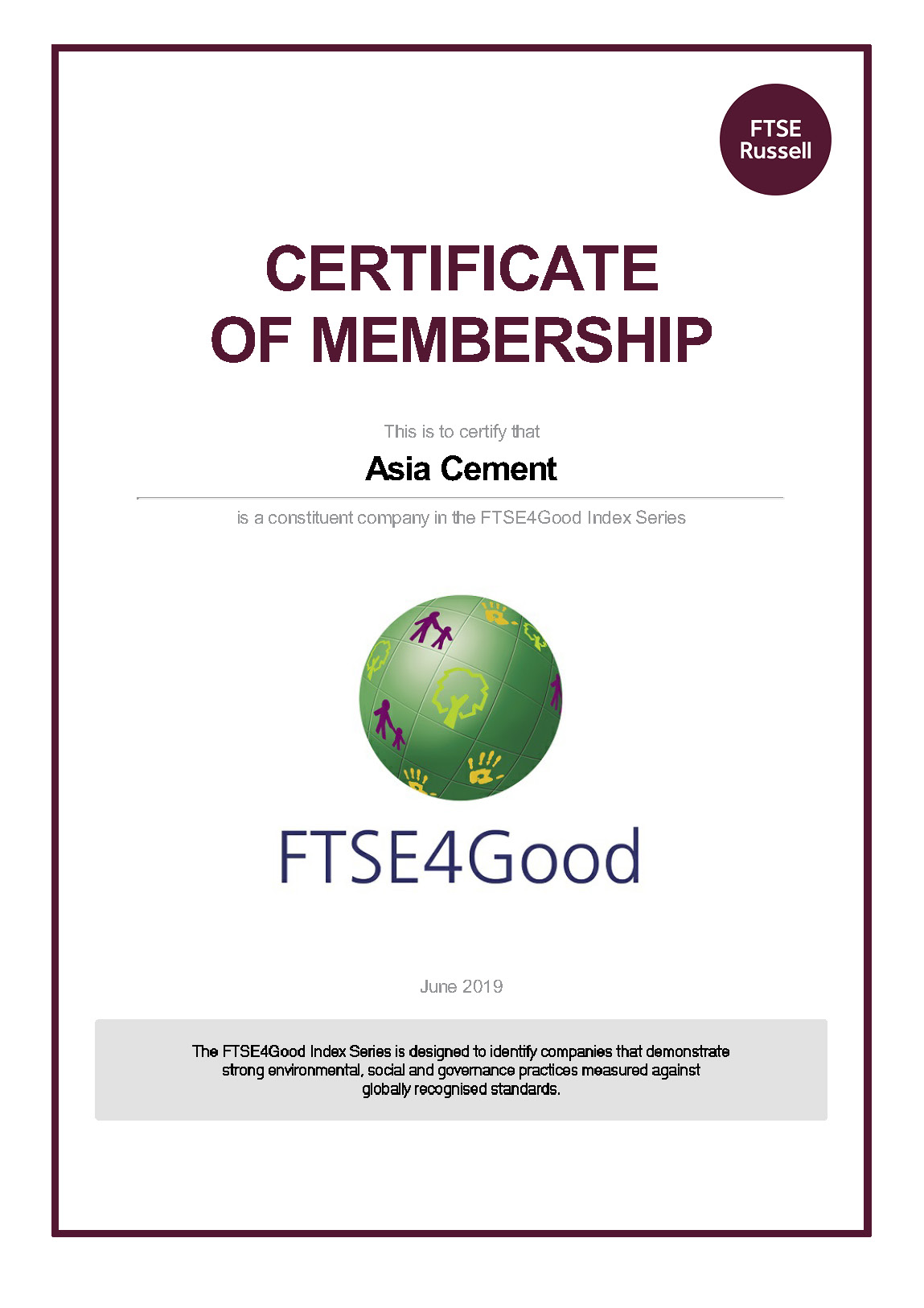 20190730 Asia Cement FTSE4Good Certificate